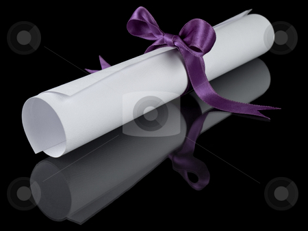 Diploma with violet ribbon stock photo, Diploma with a violet silk ribbon, isolated on black background. by Ignacio Gonzalez Prado