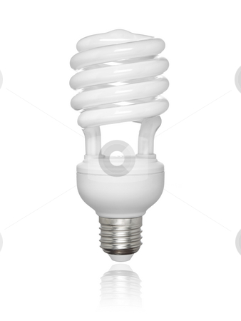 Isolated fluorescent light bulb stock photo, Compact fluorescent light bulb isolated over white background. Small reflection of the bottom. by Ignacio Gonzalez Prado