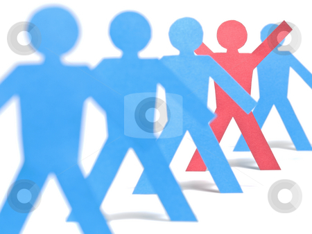The chosen one   stock photo, A red paper figure is raising his arms in the blue paper figures line. by Ignacio Gonzalez Prado