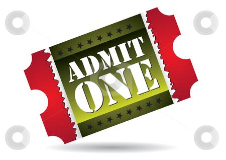 Admit one cinema ticket stock vector clipart, Admit one cinema ticket, vector illustration by Milsi Art