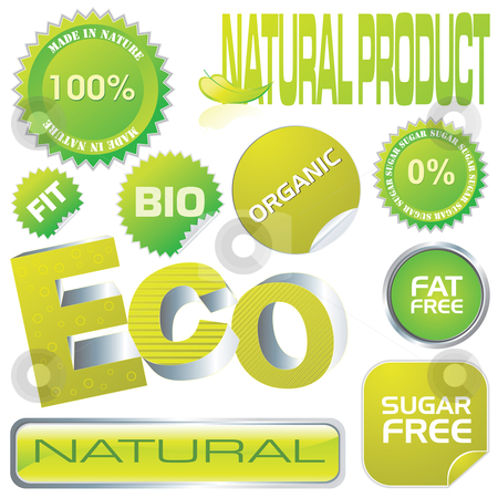 Eco labels stock vector clipart, Set of ecology labels and stickers, vector illustration by Milsi Art