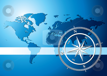 Compass background stock vector clipart, Silver compass with world map background, vector illustration by Milsi Art
