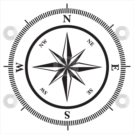 Compass rose stock vector clipart, Compass rose in black and white, vector illustration by Milsi Art