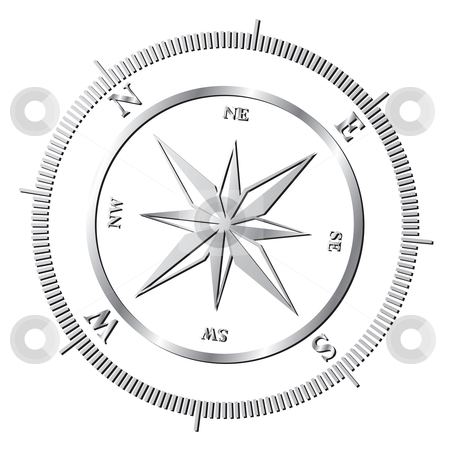 Compass rose stock vector clipart, Silver shiny compass rose by Milsi Art