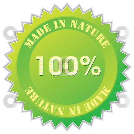 Nature label stock vector clipart, Made in nature label, vector illustration by Milsi Art