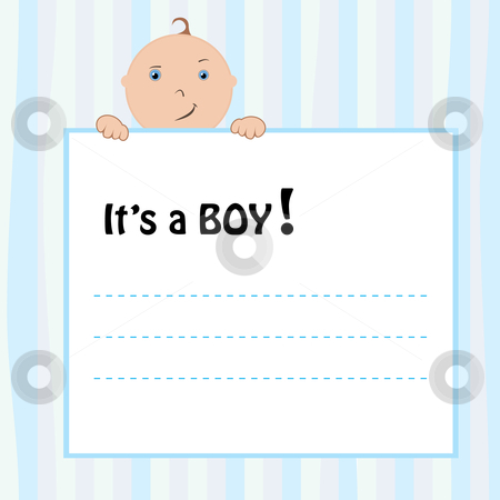 Birth Announcement Card stock vector clipart, Birth Announcement Card - baby boy, vector illustration by Milsi Art