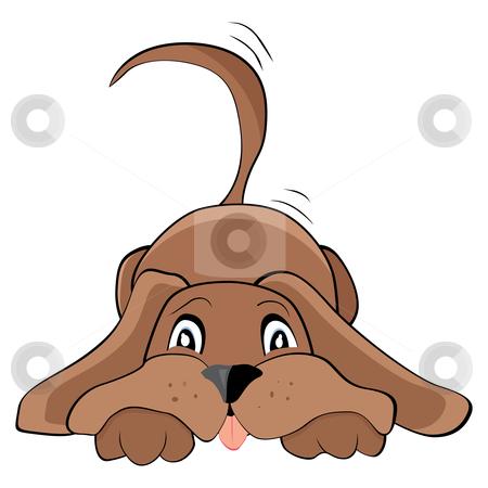 Playful dog stock vector clipart, Cute playful dog, vector illustration by Milsi Art