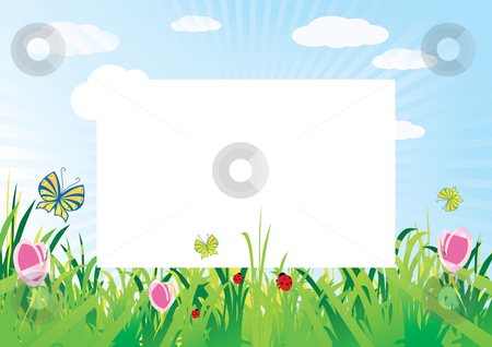 Meadow background stock vector clipart, Summer meadow background with empty space for text, vector illustration by Milsi Art