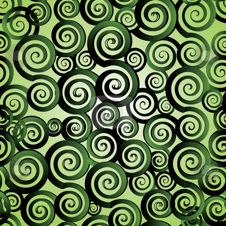 Seamless spirals stock vector clipart, Seamless Retro green spirals pattern, vector illustration by Milsi Art