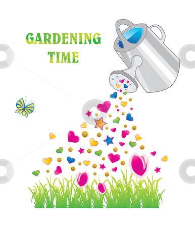 Gardening time stock vector clipart, Watering can with shiny hearts and stars, vector illustration by Milsi Art