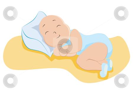 Baby boy sleeping stock vector clipart, Baby boy in sweet dreams, vector illustration by Milsi Art