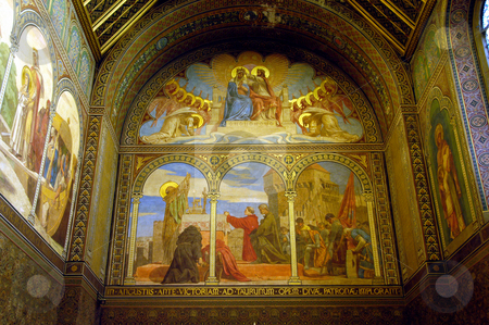 Frescos stock photo, Hungary, Pecs, St. Peter & Paul Cathedral (11th-12th century) Chapel Frescoes by David Ryan