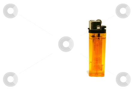 Isolated Cigarette Lighter stock photo, Isolated Orange Cigarette Lighter from side by Mehmet Dilsiz