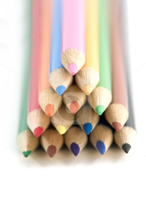 Coloring Pencils in Pyramid - Shallow DOF stock photo, Colored Pencils in Pyramid - Shallow DOF by Mehmet Dilsiz