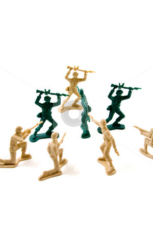 Learn When to Quit Concept stock photo, Isolated Plastic Toy Soldiers - Stubborn Concept by Mehmet Dilsiz