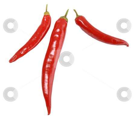 Three red peppers. stock photo, Three red peppers. Close-up. Isolated on white background. by Andrey Khritin