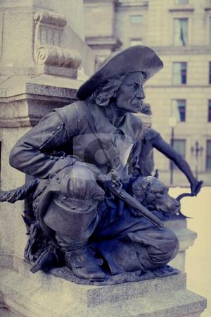 Hunter stock photo, Bronze statue of hunter by Yann Poirier
