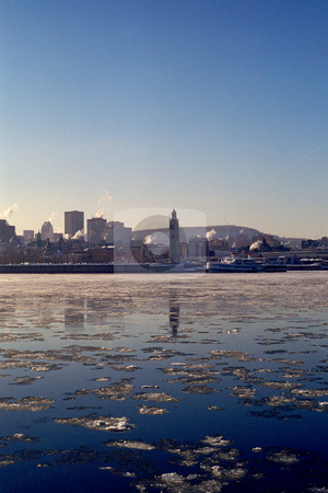 Old port of montreal stock photo, Old port of montreal view from Jean-Drapeau island during winter by Yann Poirier