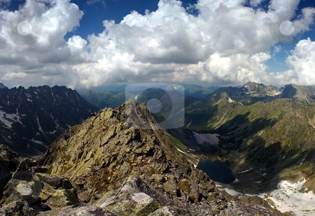 Mountain peak and two lakes stock photo, Mountain peak and two lakes in valley in summer day with clouds on the sky by Juraj Kovacik