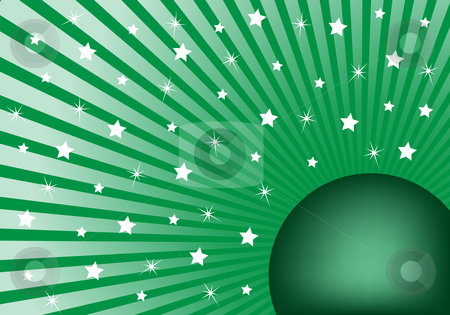 Abstract Background Green with White Stars stock vector clipart, Green sunburst background with various white stars giving a celebration feel to the design. Small space to add copy text by toots77