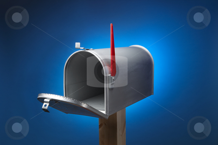 Rural mail box stock photo, Rural metal mail box opened and sitting on wood post by James Barber