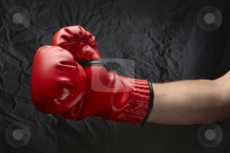 Bring it! stock photo, Boxer wearing red boxing glove about to land a punch by James Barber