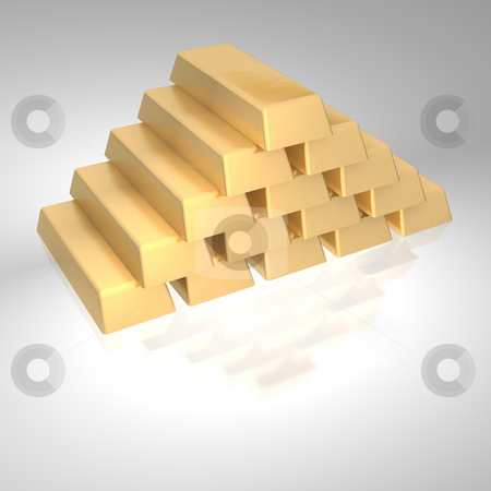 Stack of gold ingots.  3d rendered image isolated on white background. stock photo, Stack of gold ingots.  3d rendered image isolated on white background. by Jiri Moucka