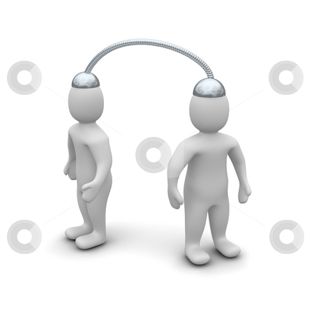 Telepathy communication between two people. 3d rendered illustration stock photo, Telepathy communication between two people. 3d rendered illustration isolated on white. by Jiri Moucka