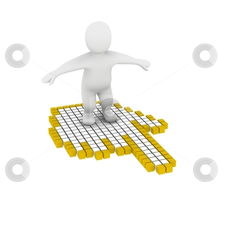 Man flying on computer mouse cursor. 3d rendered illustration. stock photo, Man flying on computer mouse cursor. 3d rendered illustration. by Jiri Moucka