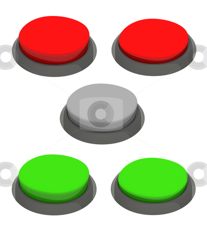 Set of glossy round buttons. Red and green colors. stock photo, Set of glossy round buttons. Red and green colors. by Jiri Moucka