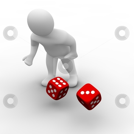 Man throwing red dices. 3d rendered illustration. stock photo, Man throwing red dices. 3d rendered illustration. by Jiri Moucka