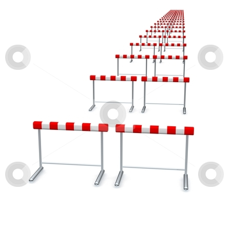 Hurdles in row. 3d rendered illustration isolated on white. stock photo, Hurdles in row. 3d rendered illustration isolated on white. by Jiri Moucka
