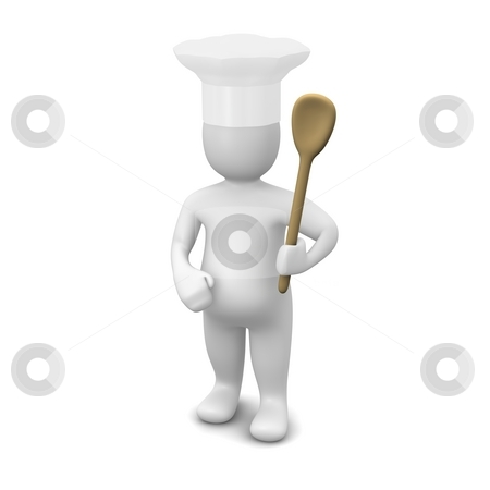 Cook with spoon and chef hat stock photo, Cook with spoon. 3d rendered illustration isolated on white. by Jiri Moucka