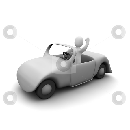 Happy man in cabriolet car stock photo, Happy man in cabriolet car. 3d rendered illustration. by Jiri Moucka
