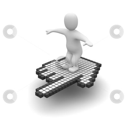 Man flying on computer mouse cursor. 3d rendered illustration. stock photo, Man flying on computer mouse cursor. 3d rendered illustration. by Jiri Moucka