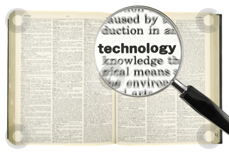 Searching for TECHNOLOGY stock photo, A magnifying glass on the word TECHNOLOGY on a dictionary. Isolated on white. by Ignacio Gonzalez Prado