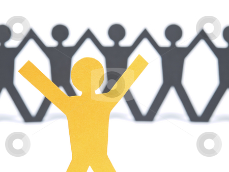 Stop stock photo, A yellow paper figure raising his arms. A paper man chain against the white background. Selective focus on the foreground. by Ignacio Gonzalez Prado
