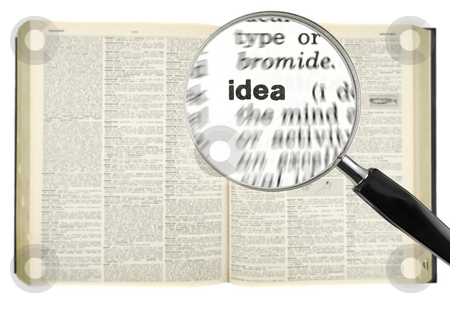 Searching for IDEA stock photo, A magnifying glass on the word IDEA on a dictionary. Isolated on white. by Ignacio Gonzalez Prado