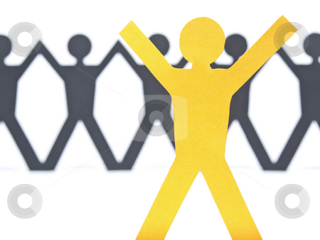 Stop there stock photo, A yellow paper figure raising his arms. A paper man chain against the white background. Selective focus on the foreground. by Ignacio Gonzalez Prado