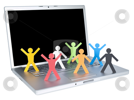 World Wide Web stock photo, Several multicolored paper figures over a laptop keyboard. Isolated on white background. by Ignacio Gonzalez Prado