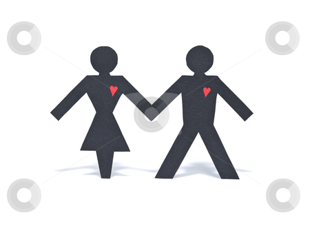 Heart to heart stock photo, An heterosexual paper figure couple holding hands isolated on white background. by Ignacio Gonzalez Prado