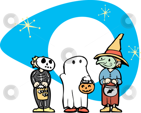 Halloween Kids #2 stock vector clipart, Three in dressed up in Costumes for Halloween night. by Jeffrey Thompson