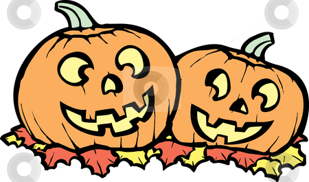 Jack-o-Lanterns stock vector clipart, Two orange Jack-o-Lanterns lit up for Halloween night. by Jeffrey Thompson