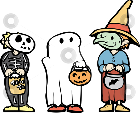 Halloween Kids #1 stock vector clipart, Three kids in Halloween Costumes and candy bags. by Jeffrey Thompson