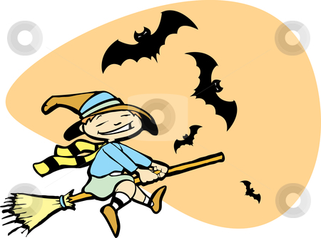 Young Witch with Bats stock vector clipart, Halloween image of a young witch flying on a broom with bats. by Jeffrey Thompson