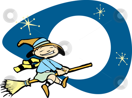 Young Witch in Night Sky stock vector clipart, Halloween image of a young witch flying on a broom. by Jeffrey Thompson