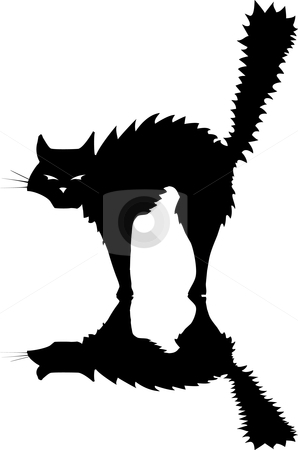 Black Cat stock vector clipart, Halloween black cat raising its fur to hiss and look scary. by Jeffrey Thompson
