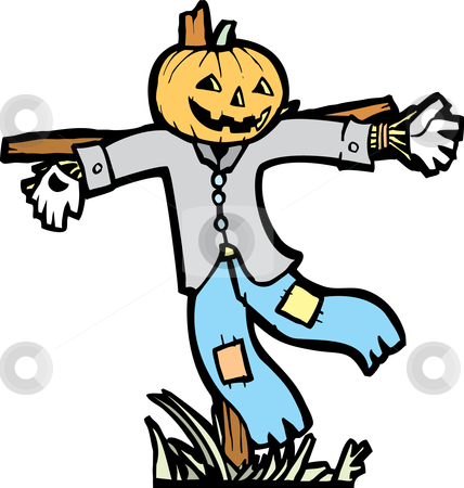 Scarecrow Isolated stock vector clipart, Isolated scarecrow image for Halloween spot images. by Jeffrey Thompson