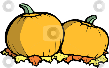 Pumpkins stock vector clipart, Two orange pumpkins in a Halloween Pumpkin Patch by Jeffrey Thompson