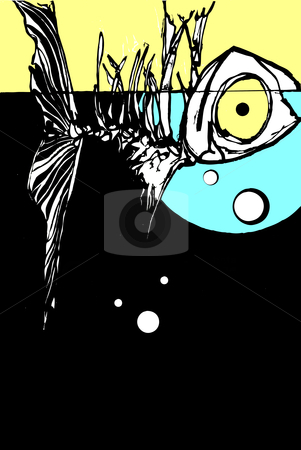 Dead fish stock vector clipart, A dead fish floating belly up in a fish tank with bubbles. by Jeffrey Thompson
